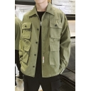 Guys Trendy Plain Multi-Pocket Long Sleeve Button Down Overshirt Workwear Jacket