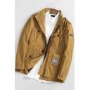 Mens Ginger Simple Plain Stand Collar Long Sleeve Multi-Pocket Zip Up Workwear Jacket