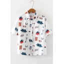 Summer Girls White Cartoon Pattern Short Sleeve Button Down Loose Shirt