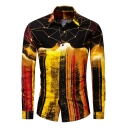 Mens Fashion Color Block Long Sleeve Slim Fit Button Up Cotton Yellow Shirt
