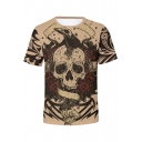 Mens Trendy Khaki Rose Skull Printed Round Neck Short Sleeve Fitted T-Shirt