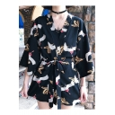 Summer Womens Trendy Crane Pattern Three-Quarter Sleeve Holiday Kimono Blouse