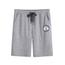 Men's Simple Fashion Logo Printed Drawstring Waist Casual Cotton Relaxed Sweat Shorts