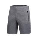 Men's Summer Fashion Simple Plain Zipped Pocket Running Sports Sweat Shorts