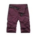 Men's Summer Stylish Letter Printed Zipped Pocket Side Casual Sports Cargo Shorts