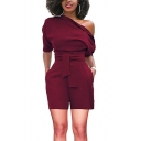 Summer Womens Sexy Hot Stylish Solid Color Short Sleeve One Shoulder Tie-Waist Romper