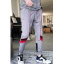 Men's Casual Fashion Colorblock Stripe Pattern Drawstring Waist Cotton Sweatpants