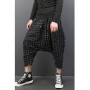 Men's Trendy Plaid Pattern Drawstring Waist Black Cotton Cropped Drop-Crotch Harem Pants