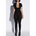 Womens Hot Stylish Black Short Sleeves Contrast Trim Zip-Front Slinky Jumpsuit Catsuit