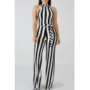 Womens Hot Sexy Halter Sleeveless Stripped Tie Waist Wide Leg Fitted Jumpsuit for Nightclub