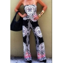 Trendy Womens Strapsless Tribal Print Elastic Waist Casual Jumpsuits for Women