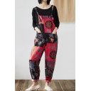 Womens Hot Stylish Red Tribal Print Pocket Front Cotton and Linen Casual Overall Jumpsuits
