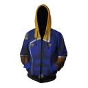 New Trendy Blue Comic Cosplay Costume Long Sleeve Zip Up Loose Fit Hoodie