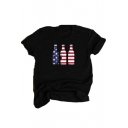 Unique Flag Beer Bottle Print Black Short Sleeve Casual Tee