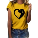 Funny Cute Heart Dog Print Round Neck Short Sleeve Casual Tee