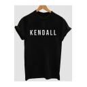 Simple Letter KENDALL Pattern Round Neck Short Sleeve Casual Tee