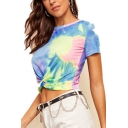 Fashion Blue Tie Dye Twist Front Round Neck Short Sleeve Crop Tee