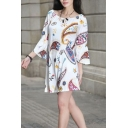 Summer Fashion Printed Boat Neck Three-Quarter Sleeve Casual Mini Shift Dress