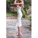 Womens Fancy Plain Sleeveless Midi Fishtail Bodycon Soluble Lace White Dress
