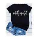 Funny Street Letter Perfectly Imperfect Print Round Neck Short Sleeve Black Tee