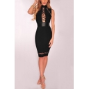 Womens Trendy Black High Neck Sleeveless Hollow Lace-Up Midi Pencil Dress