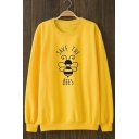 SAVE THE BEES Graphic Print Crewneck Long Sleeve Yellow Sweatshirt