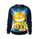 Popular Cool Halloween Party Pumpkin 3D Print Blue Long Sleeve Pullover Sweatshirt