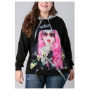 Womens Fashion Plus Size Bitch Comic Girl Print Black Loose Hoodie