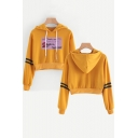 Popular New Album Thank U Next Striped Long Sleeve Casual Cropped Hoodie
