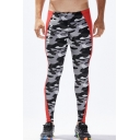 Men's New Fashion Colorblock Letter Camouflage Printed Elastic Leggings