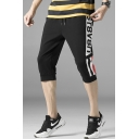Men's Summer Fashion Colorblock Stripe Letter Printed Drawstring Waist Casual Cropped Cotton Sweatpants