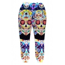 Hot Fashion Creative Colorful Skull 3D Printed Casual Cotton Joggers Sweatpants for Guys