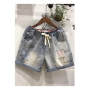 Vintage Light Blue Patched Drawcord Waist Loose Casual Denim Shorts