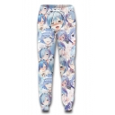 Hot Fashion Anime Sexy Girl 3D Printed Drawstring Waist Light Blue Casual Jogging Sweatpants