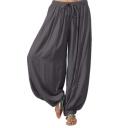 Summer Hot Sale Fashion Tie-Waist Plain Loose Dance Bloomers Pants