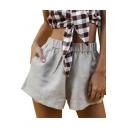 Womens Summer Fancy Simple Plain Elastic Waist Linen Loose Wide-Leg Shorts