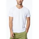 Mens Summer Simple Plain V-Neck Short Sleeve Cotton Breathable T-Shirt