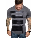 Summer Trendy PU Patched Grey Short Sleeve Slim Fitted T-Shirt for Men