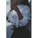 Cool Girls Cut Letter Print Hem Long Sleeve Casual Loose Cropped Sweatshirt