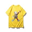 Summer Popular Cartoon Basketball Doll Print Casual Loose T-Shirt