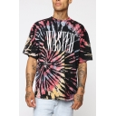 Mens Summer Cool Simple Letter WASTED Tie Dye Graffiti Short Sleeve Round Neck Loose Tee