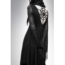 Hot Fashion Womens Cool Black Lace Sleeve Spider Web Cutout Hooded Maxi Asymmetric Dress