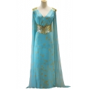 Womens Hot Fashion V Neck Metallic Embellished Gather Waist Mother of Dragons Cosplay Maxi Cape Dress