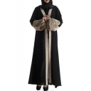 Womens Hot Fashion Black Long Sleeve Beading Embellished Patchwork Maxi Muslim Cardigan Dress
