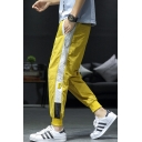 New Fashion Colorblock Patched Side Drawstring Waist Casual Loose Track Pants for Guys