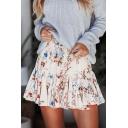 Summer Active Womens Stylish Elastic Waist Floral Print Ruffle Hem A-Line Mini Skirt