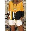 New Trendy Fashion Color Block Patched Round Neck Bat Long Sleeve Relaxed T-Shirt