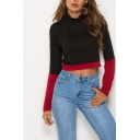 Womens New Fashion High Neck Two-Tone Color Block Long Sleeve Black Crop Tee