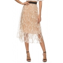 Womens Hot Sale Elastic Waist Layer Mesh Embroidered A-Line Midi Flared Skirt