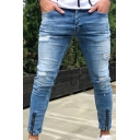 Men's New Fashion Popular Cool Distressed Zipped Cuffs Slim Fit Blue Ripped Jeans
